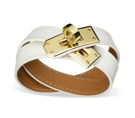 Hermes_White_Leather_Kelly_Double_Tour_Bracelet_with_Gold_Buckle